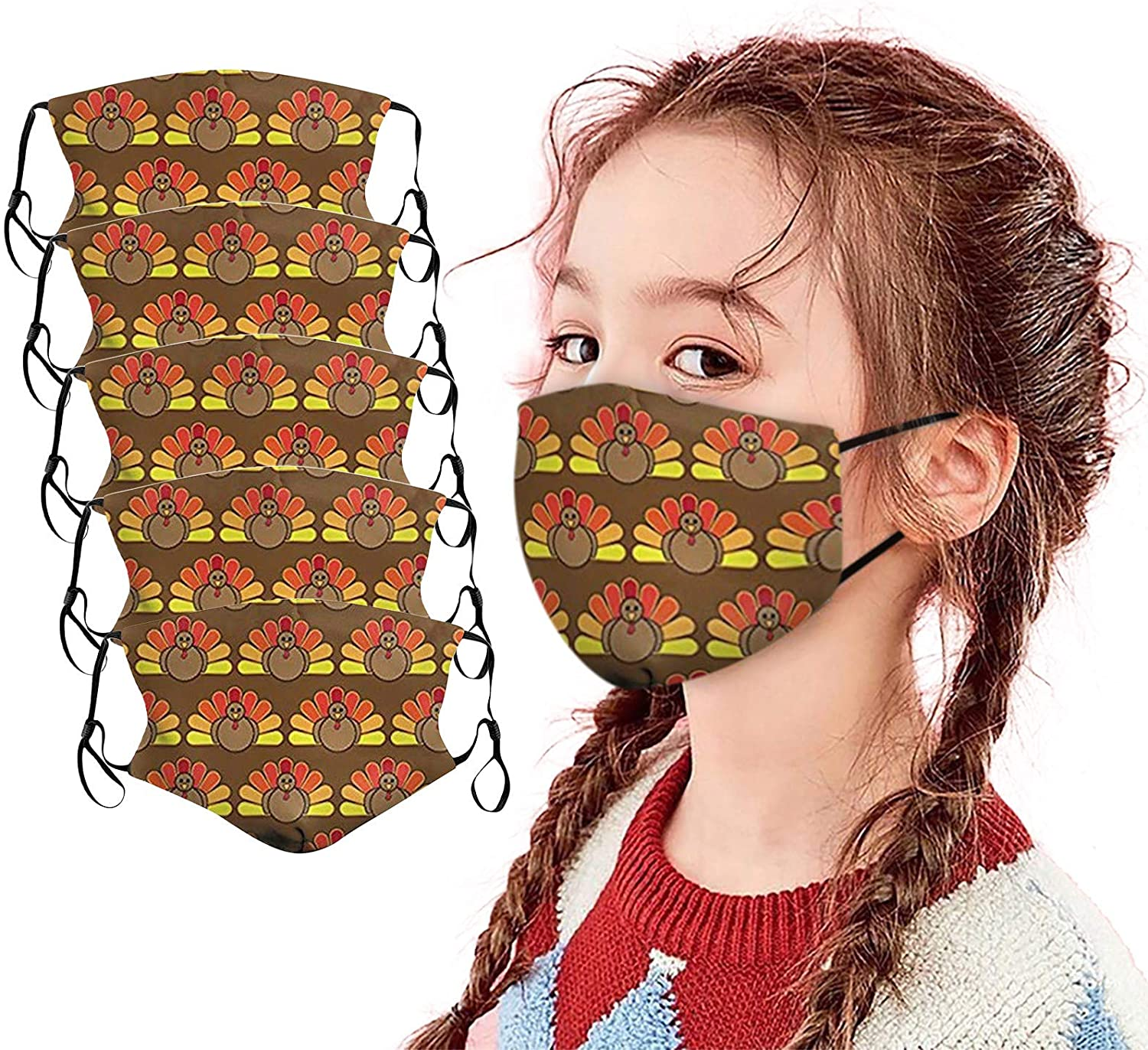 Turkey Facemasks for Kids, Thanksgiving Face Coverings with Filter Pocket Washable Reusable Cloth Face_Masks
