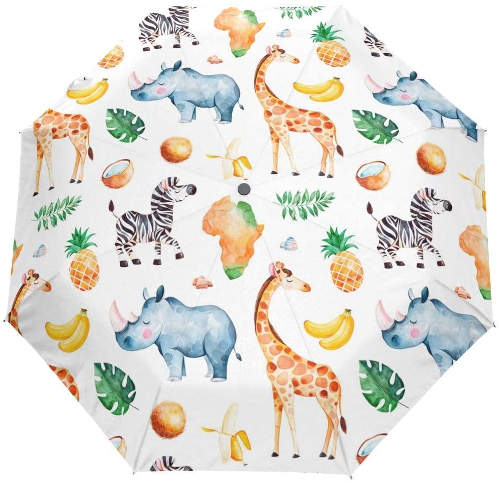 FORMRS Travel Umbrella, Giraffe Rhino Zebra Pineapple Elements Auto Open Umbrella Compact Folding Sun Rain Protection, Windproof for Kids Women Men