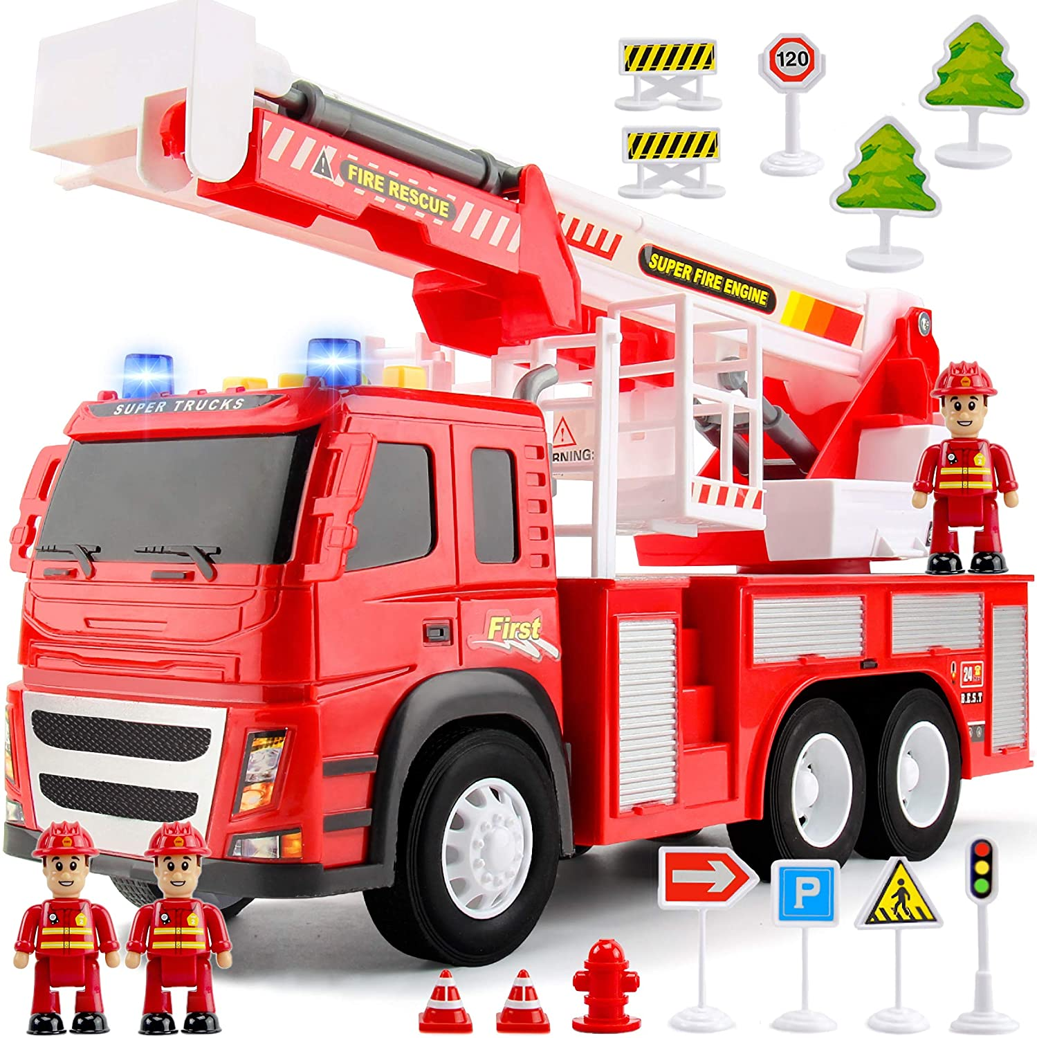 Fire Truck Playset – 1:12 Scale Large Size Toys - Realistic Fire Engine, Extending Rotating Ladder, 3 Firemen, Road Signs, Lights, Sounds - Friction-Powered Truck for Toddlers, Boys, Girls Age 2 3 4 5