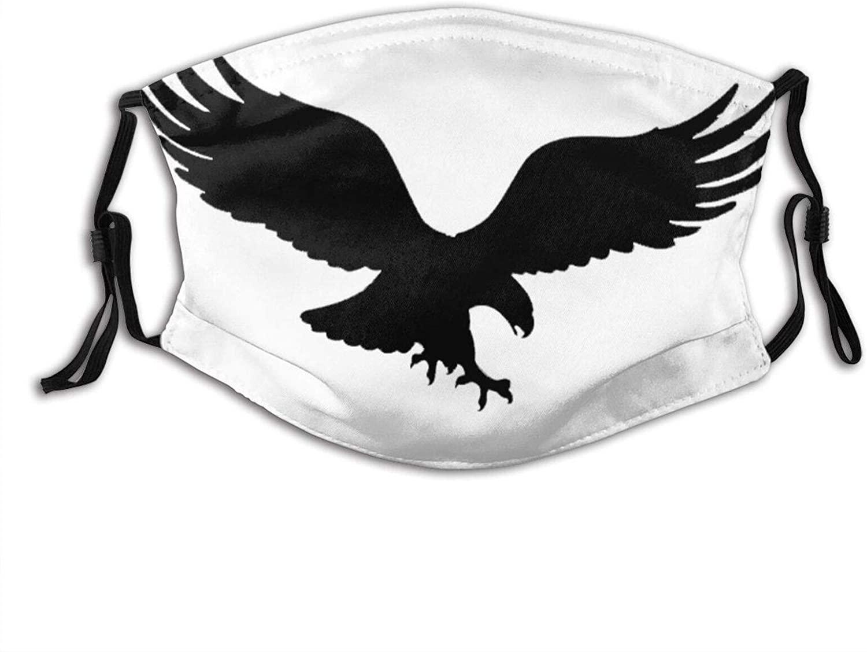 Black Eagle Face Mask Scarf, Washable Breathable Reusable Bandana Adjustable, For Adult Women & Men Outdoor
