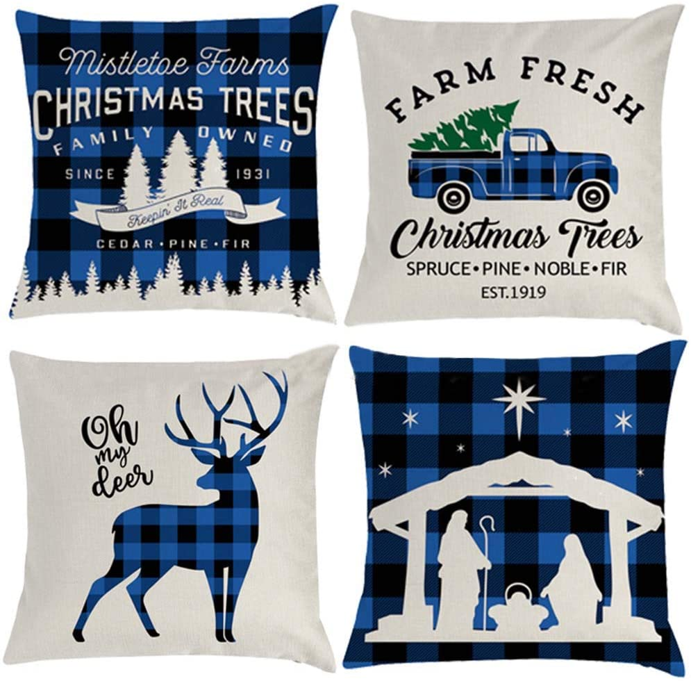 WAQIA 4Pcs Christmas Pillow Covers 18 X 18 Inch Christmas Decor Christmas Throw Pillows Black and Blue Buffalo Check Plaid Linen with Pattern Letters