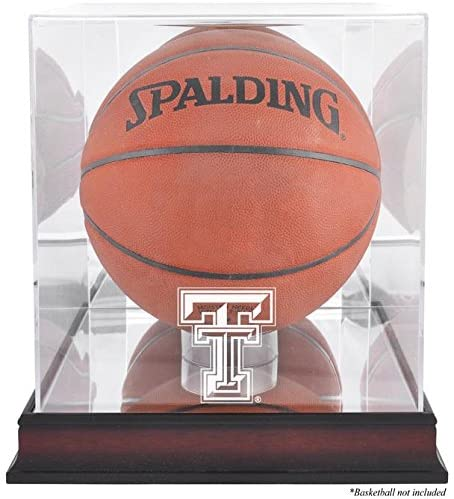 Texas Tech Red Raiders Basketball Display Case | Details: Mahogany Base, Antique Finish, with Mirror Back