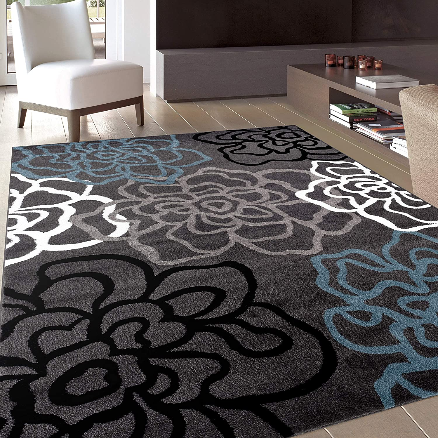 Contemporary Modern Floral Flowers Gray Area Rug 7' 10