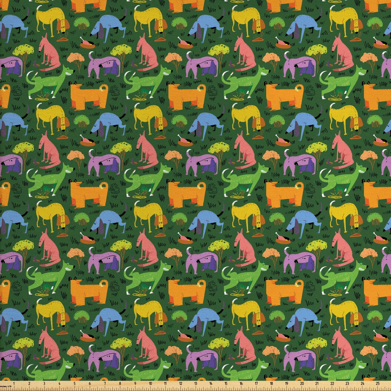 Ambesonne Dog Fabric by The Yard, Illustration of Various Colorful Animals Assorted Cartoon Style Pets, Decorative Fabric for Upholstery and Home Accents, 1 Yard, Hunter Green Multicolor