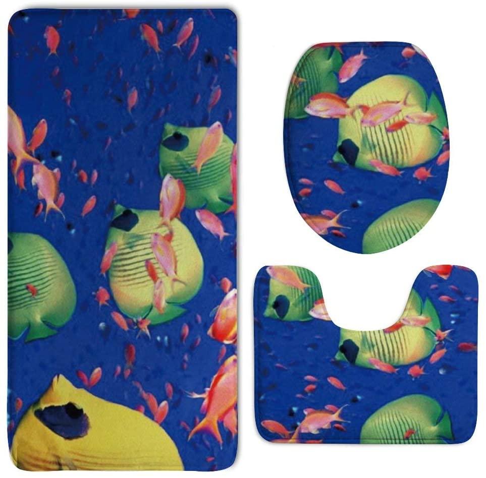 NiYoung Bathroom Rug Mat - Bath Mat Carpet - Non-Slip Pedestal Doormats Floor Mats Rugs Kitchen Bedroom Carpet/Toilet Seat Cover and Rug - Fish Underwater Sea Carpets Decor