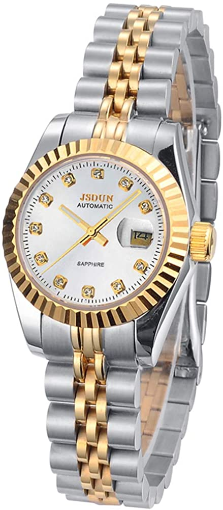 Swiss Brand Women's Luxury Watch Gold Automatic Mechanical Face Self Winding Sapphire Crystal Dress Stainless Steel Waterproof Two Tone