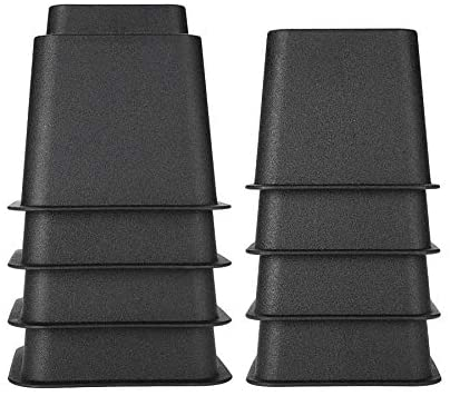 Chair Leg Raisers, Adjustable Bed Risers Table Sofa Heavy Duty Set of 8 Pieces Stackable Furniture Riser Feet Lift Set Under Bed Storage 4 x 5 & 4 x 3 (Black)