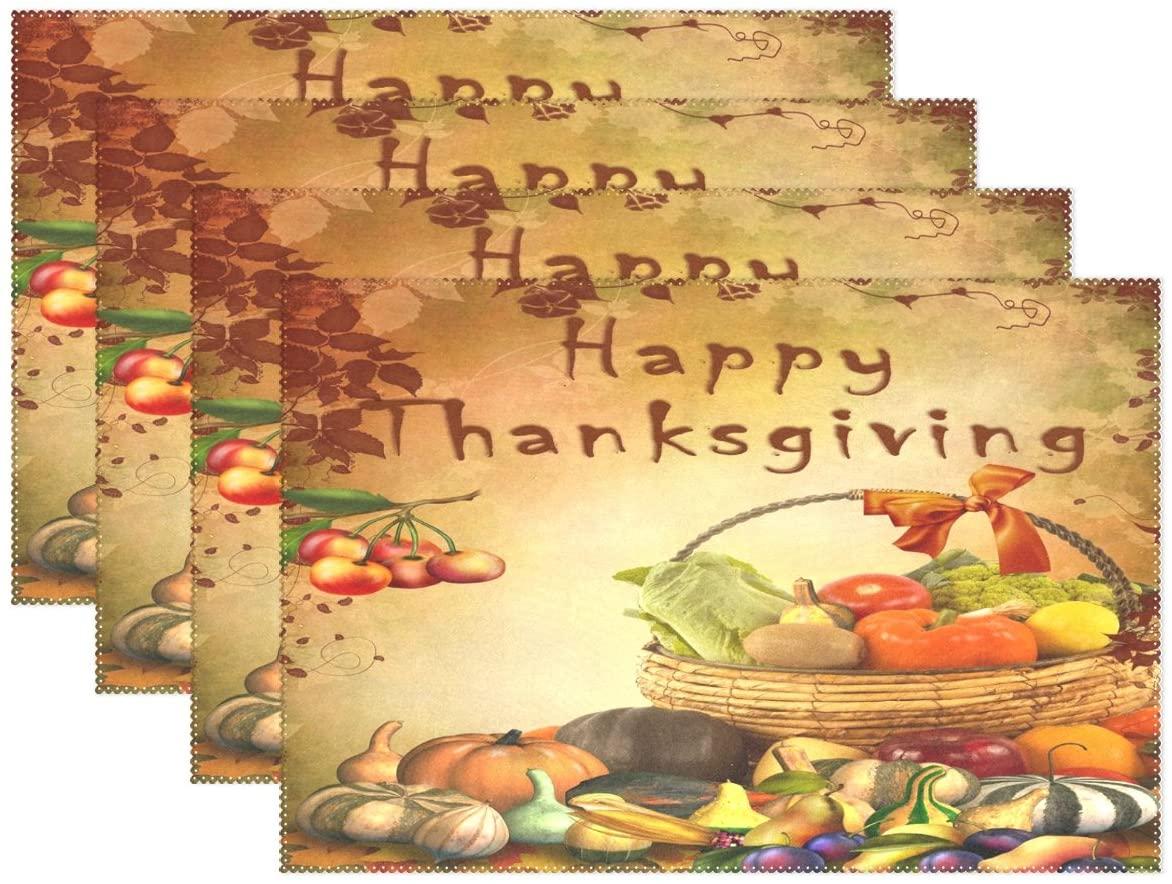 WOZO Fall Harvest Thanksgiving Pumpkin Placemat Table Mat 12