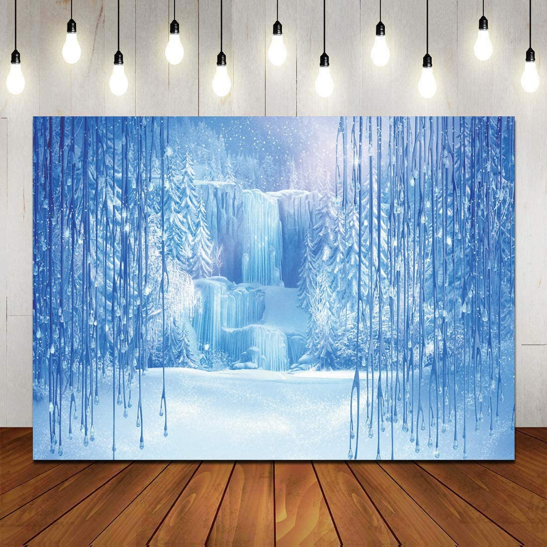 CYLYH 7x5ft Winter Backdrop Ice and Snow White World Photography Backdrops Christmas Winter Frozen Snow Ice Crystal Pendant World Backdrops for Children Dessert table decoration banner background D448