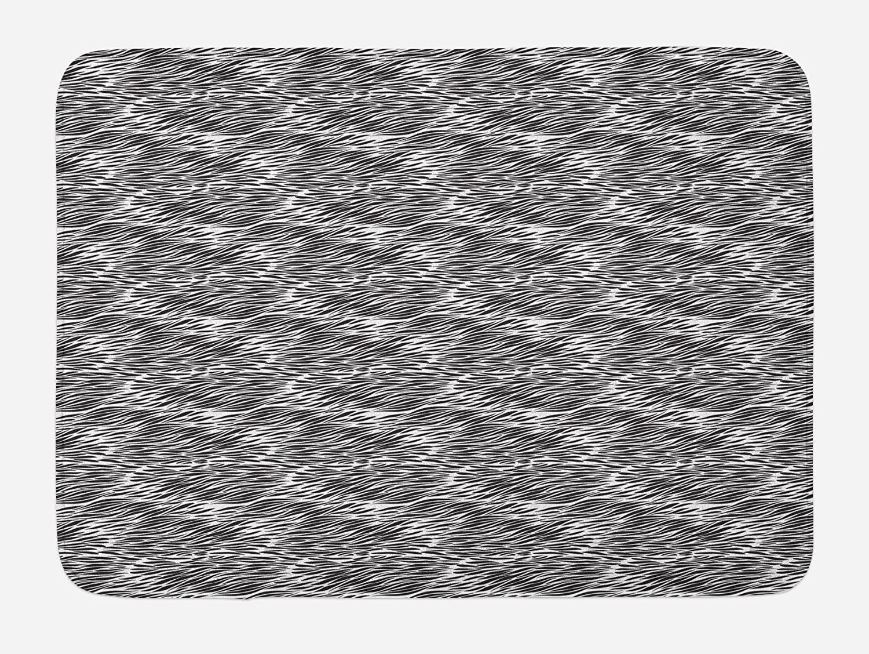 Ambesonne Zebra Print Bath Mat, Black and White Hand Drawn Animal Skin Camouflage Illustration, Plush Bathroom Decor Mat with Non Slip Backing, 29.5