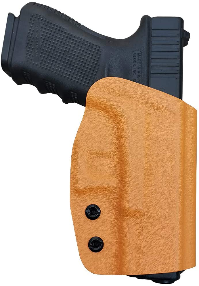 OWB Kydex Holster Fit: Glock 19 19x / Glock 23 25 32 / Glock 17 22 31 / Glock 26 27 30s (Gen 1-5) - Outside Waistband Carry 1.5-2 Inch Belt Clip - Adj. Width Height Retention Cant, Entrance Widened