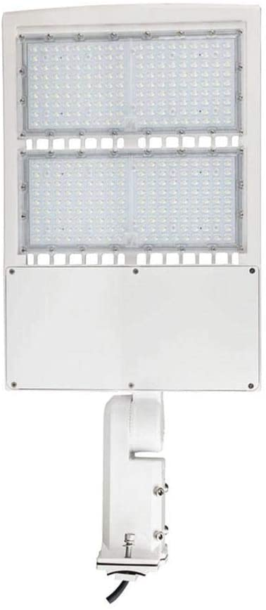 LEDMyplace 300W LED Pole Light w/Photocell Sensor, Universal Mount (Slip Fitter, Adjustable & Direct) (Replaces 1000W HID) 42000 Lumens, 5700K, Dimmable Shoebox Light, White, IP65 Waterproof, UL, DLC
