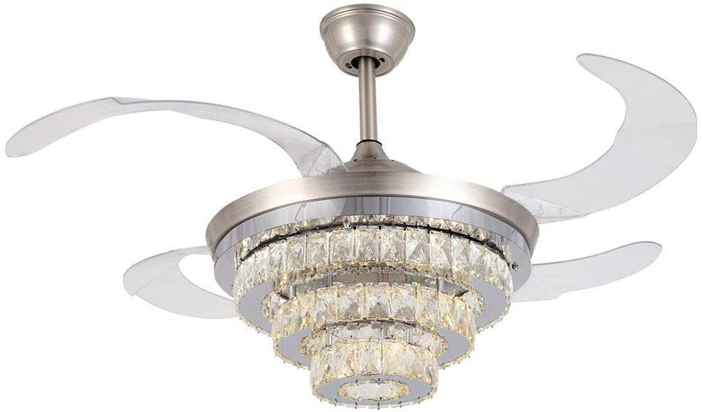 Ceiling Fan Crystal 42 Inch Chandelier Retractable Blades Ceiling Fan with lights Remote Control Invisible LED Chandelier