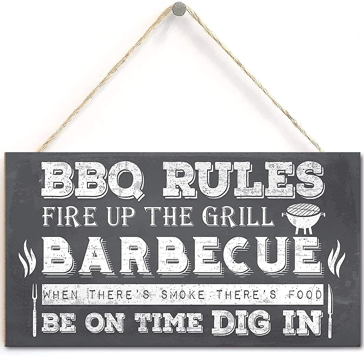 BBQ Barbecue Rules Garden Wall Plaque Pub Bar Home Sign Man Cave Friendship Gift for Him