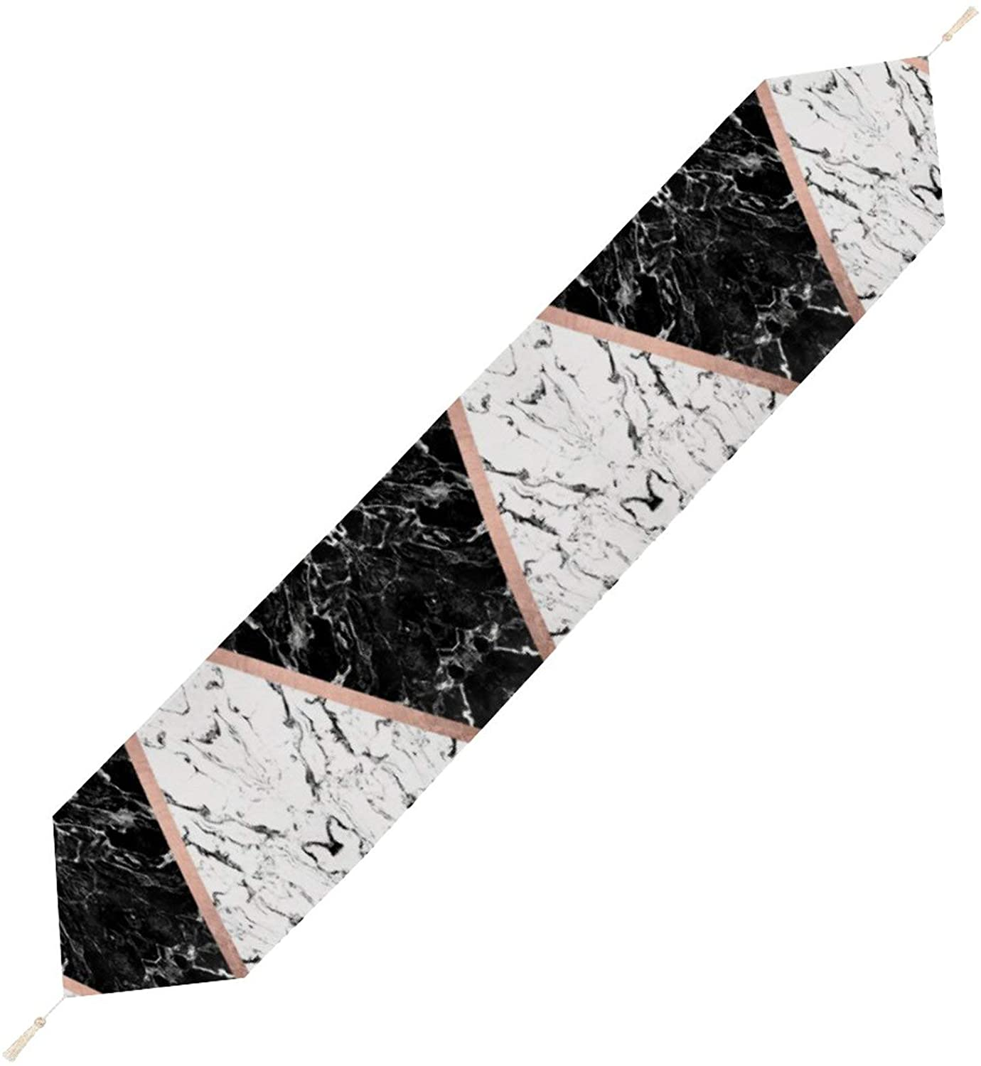 Chic Black White Marble Color Block Rose Gold Table Runner 13''x90'' Easy to Clean Non-Slip Heat Resistant Modern Farmhouse Table Runner for Dinner Dining Kitchen Table Thanksgiving Christmas Party