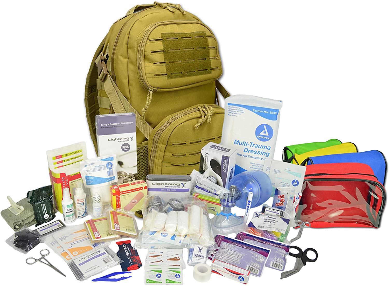 Lightning X Stocked Modular Trauma & Bleeding First Aid Responder Medical Backpack + Kit