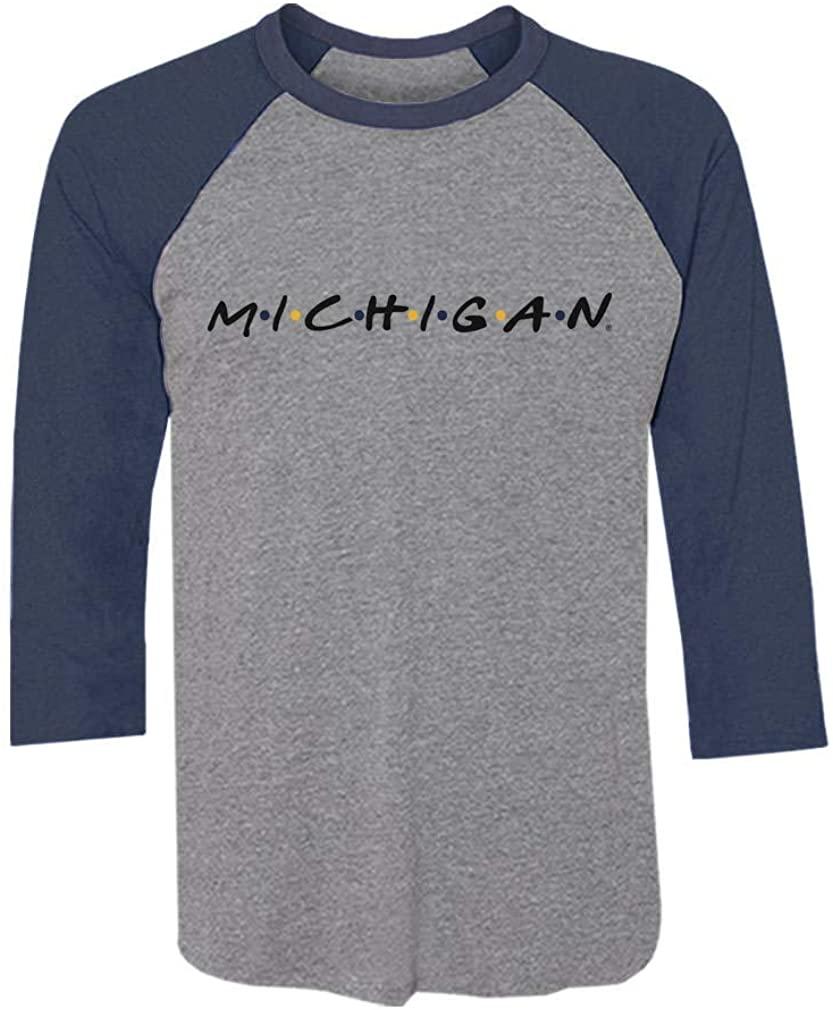 Michigan Wolverines Apparel Friends Logo 3/4 Sleeve Baseball Jersey Shirt