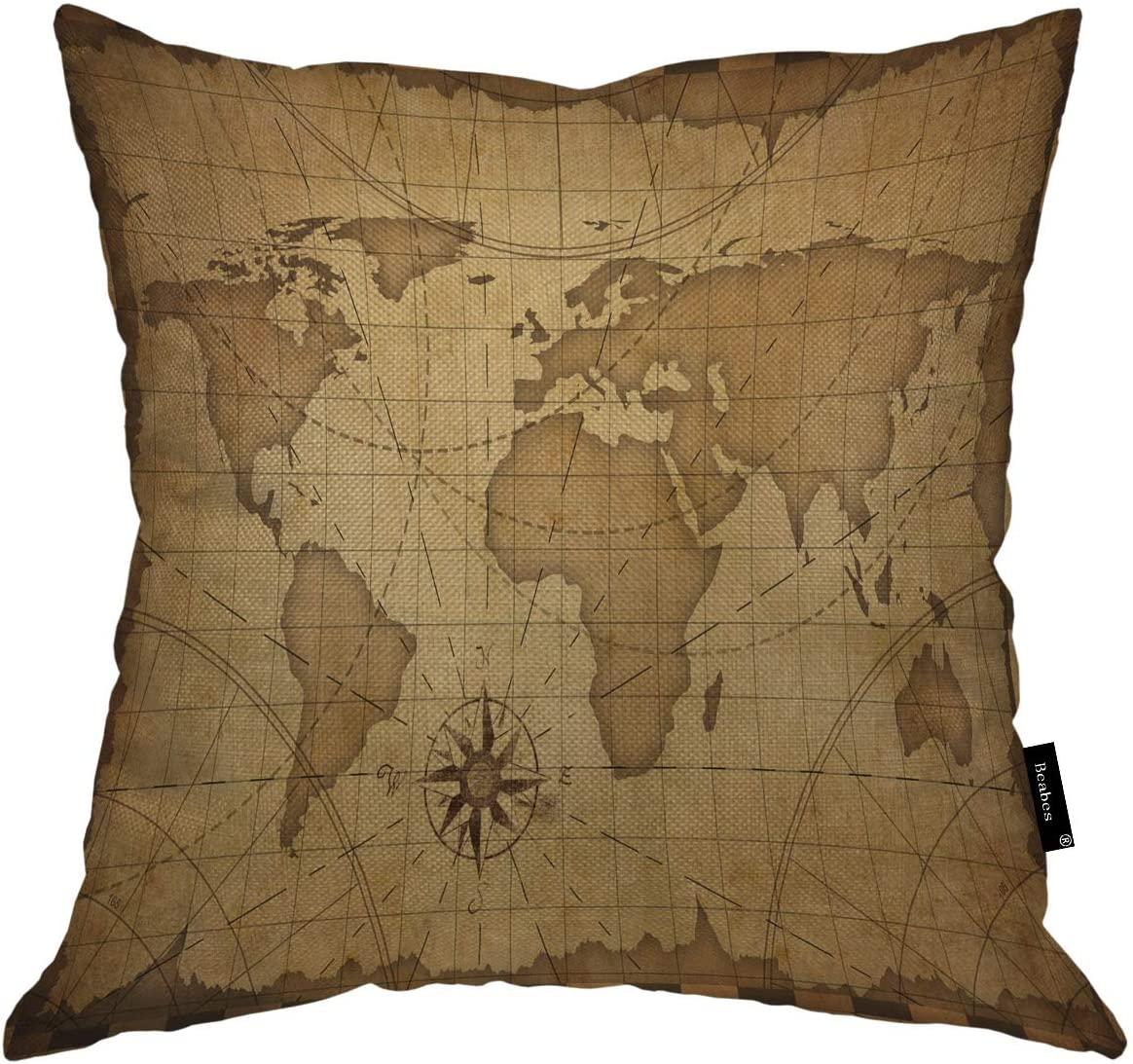 Beabes World Map Throw Pillowcase Retro Old Nautical Vintage World Map Theme Sea Adventure Circle Cross Square Throw Pillow Cover for Men Women Boys Girls Home Decor Cotton Linen 18x18 Inch