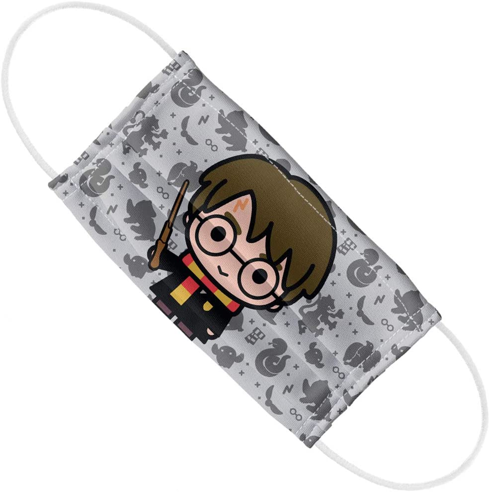 Harry Potter Harry Chibi and Pattern 1-Ply Reusable Face Mask Covering, Unisex