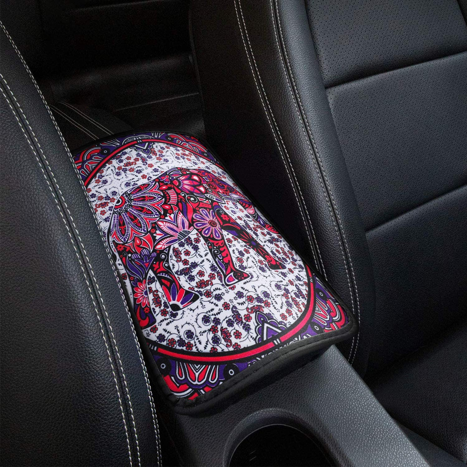 Mioloe Elephant Car Armrest Cover, Universal Auto Center Console Pad, Fit Soft Comfort Armrest Seat Box Cover Protector Fit for SUV/Truck/Car, Stylish Pattern Printed Console Cover Pad