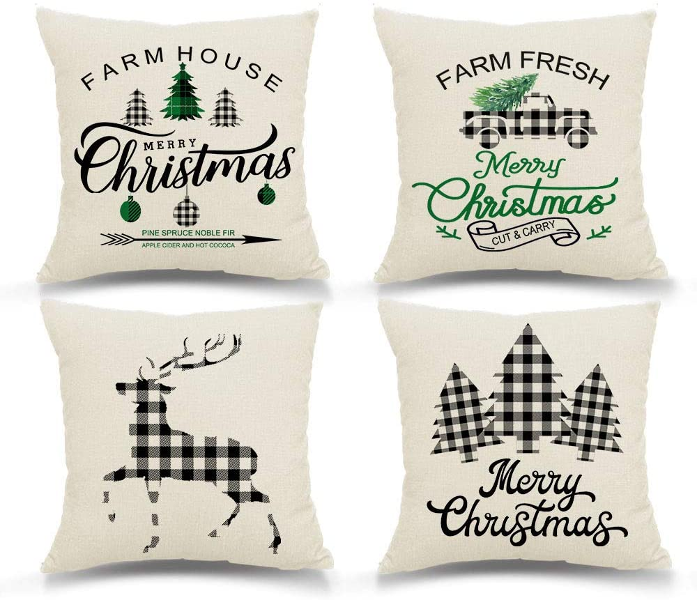 SuperMake Christmas Pillow Covers 18x18 inch Set of 4 Black and White Buffalo Check Reindeer Christmas Trees Farmhouse Decorative Throw Pillow Cover Christmas Décor Decorations Cushion Case for Home