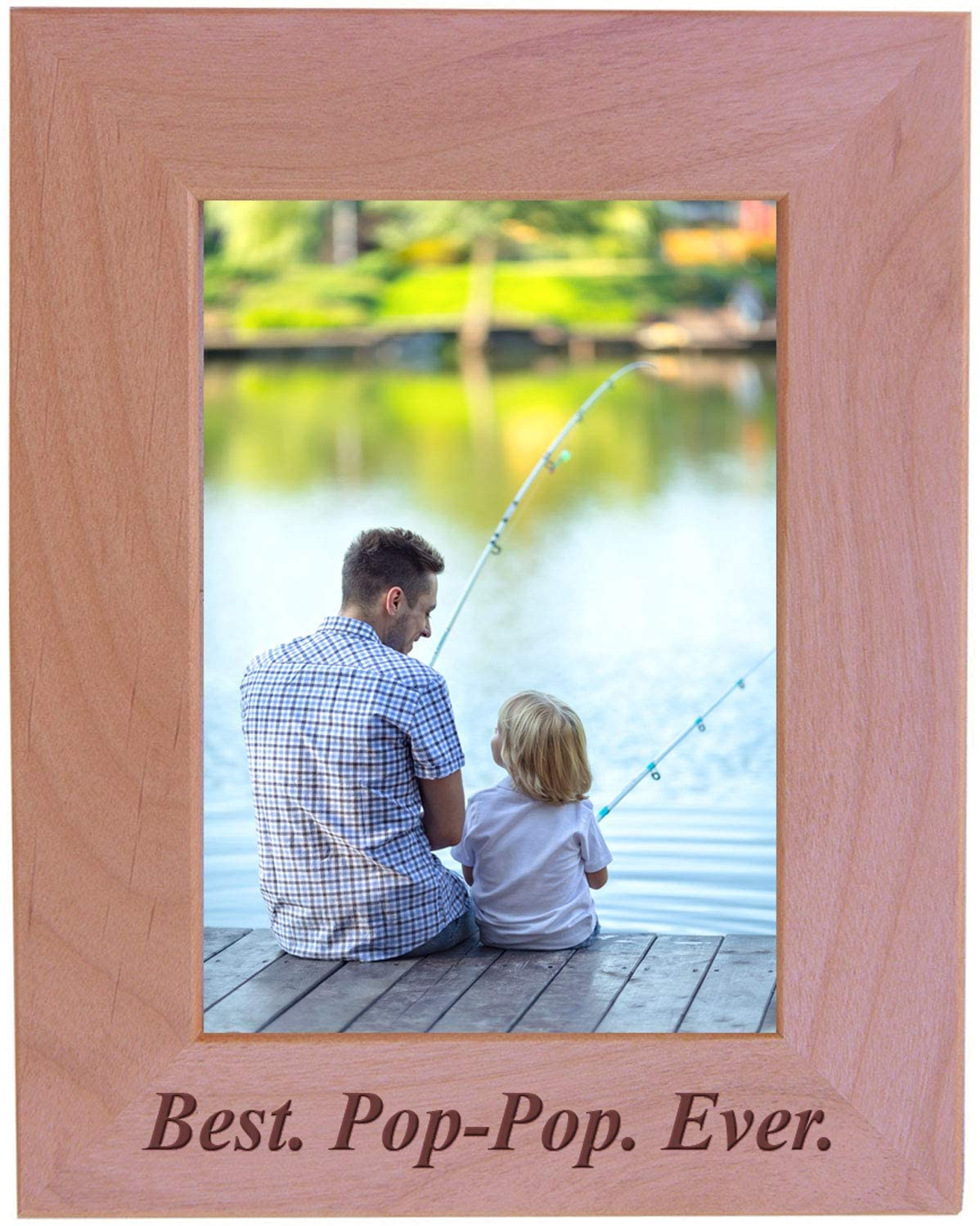 CustomGiftsNow Best Pop-Pop Ever - Engraved Wood Picture Frame (5x7 Vertical)