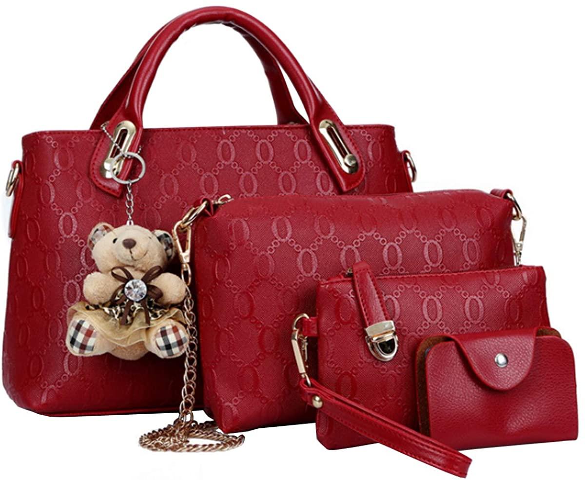 Women 4Pcs Top Handle Satchel Hobo Handbag Tote Clutch Shoulder Bag Purse Wallet