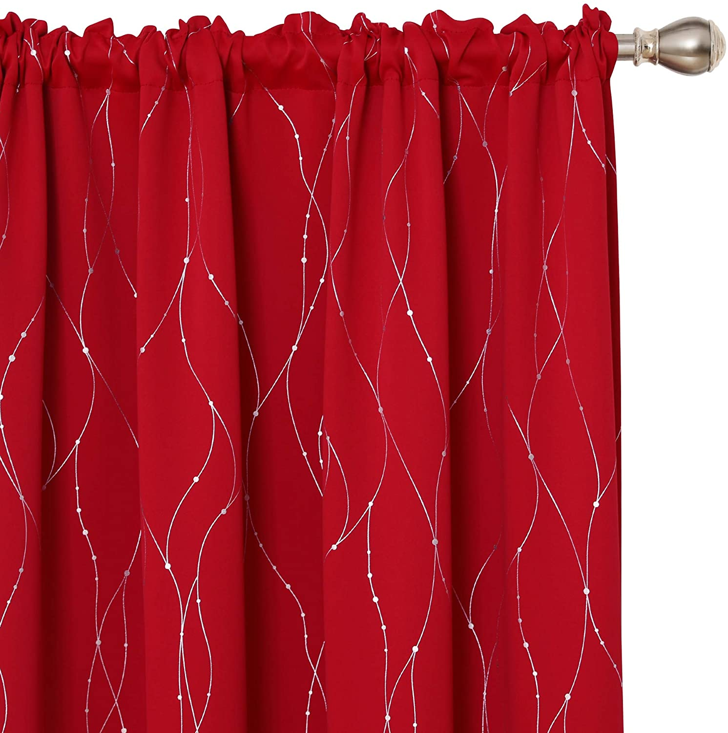 Deconovo Red Blackout Curtains and Drapes Wave Line with Dots Printed Rod Pocket Window Treatment Sets Curtains for Bedroom 52 x 84 Inch Red 2 Panels