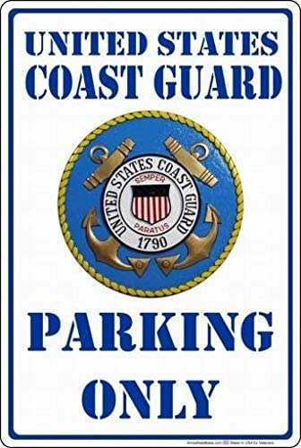 PaBoe United Coast Guard Parking Only Sign Vintage Retro Tin Metal Decor Sign Home Wall Decor 8x12