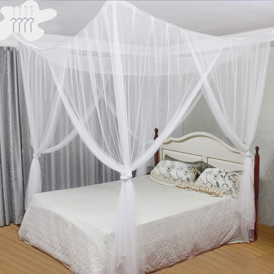 Tinyuet Bed Canopy, 190×210×240cm Universal Square Mosquito Net, Hanging Bed Curtain for Most Size Bed - White