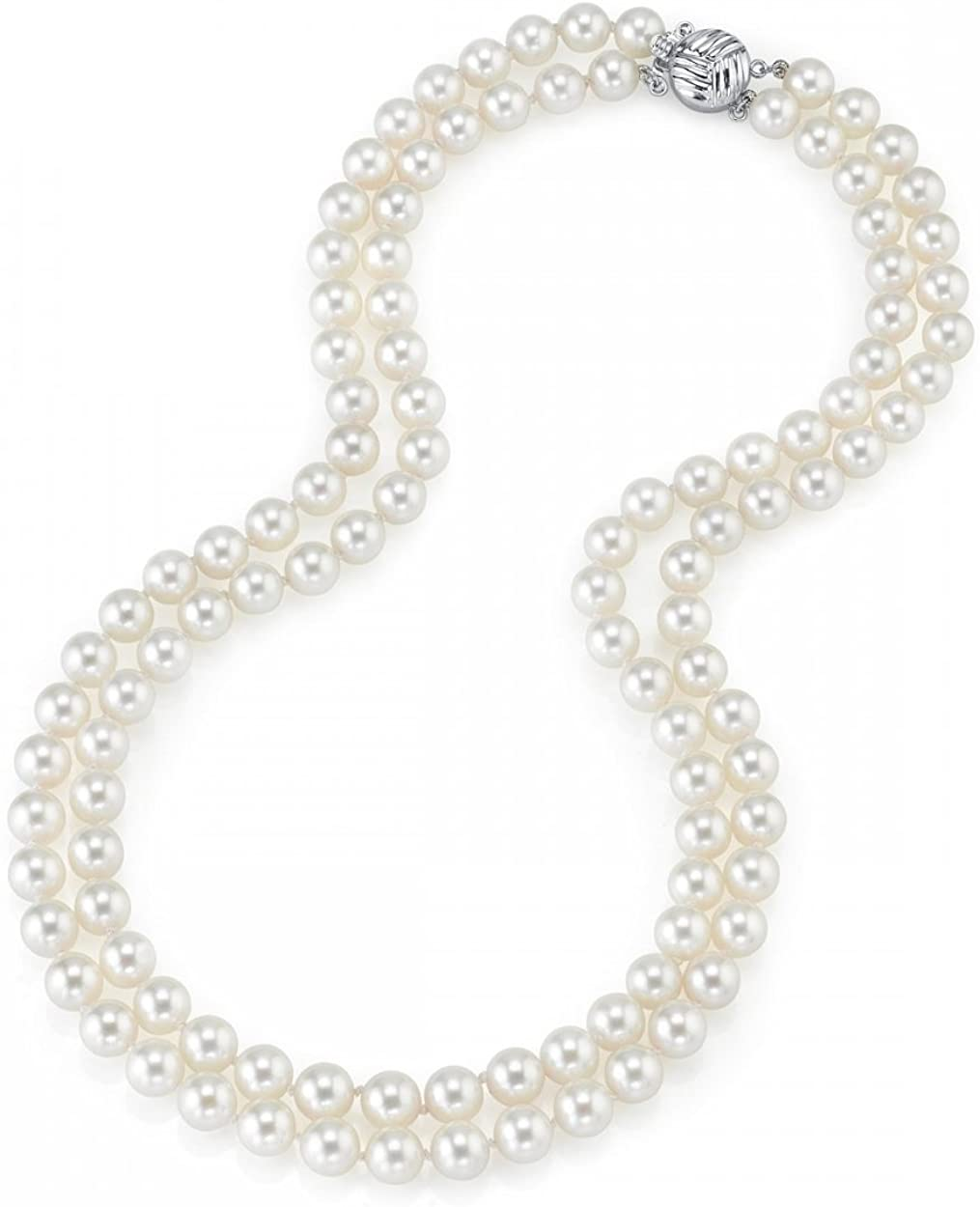 THE PEARL SOURCE 14K Gold 9-10mm AAAA Quality Double Strand White Freshwater Cultured Pearl Necklace for Women in 16-17