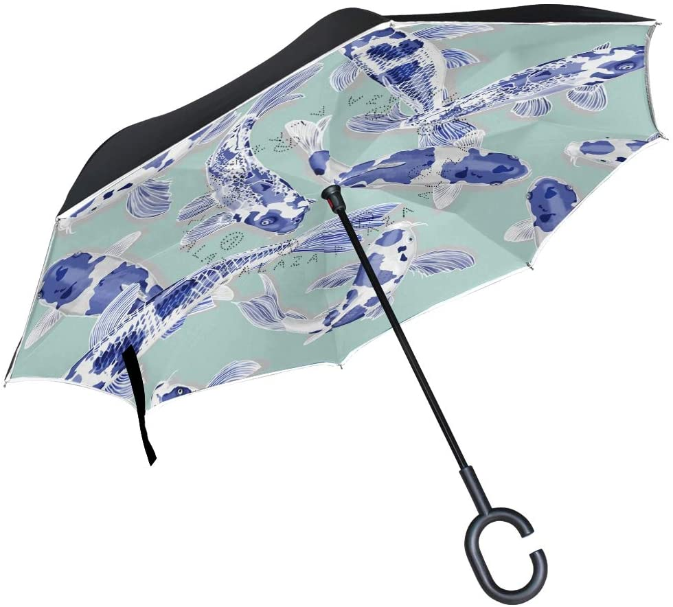 Inverted Travel Umbrella Koi Fish Chinese Reverse Windproof UV Protection Umbrellas with C Shaped Handle for Car Golf Outdoor