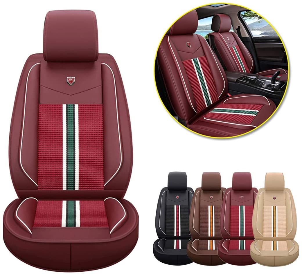 Car Seat Cover Custom for 95% Car Model Waterproof Breathable 5 Seats PU Leather Needlework Full Set Front Rear Car Seat Cushion Cover Lafite red