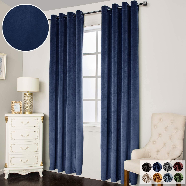 Super Soft Luxury Velvet Curtains for Living Room Light Blocking Velvet Curtain Panels Privacy Grommet Window Drapes for Bedroom/Sliding Glass Door, 2 Panels (Navy, 38W84L)