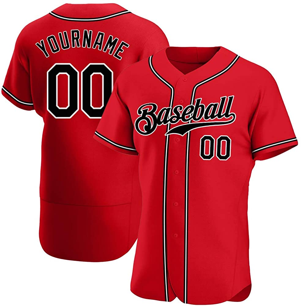 Custom Men's Active Shirts Personalized Baseball Jersey Button-Down Short-Sleeve Tees Stitched Name, Number Big & Tall