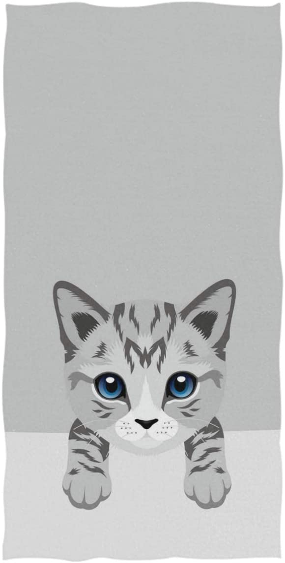 Naanle Lovely Cartoon Cat Soft Guest Hand Towel Multipurpose for Bathroom, Hotel, Gym and Kitchen (16