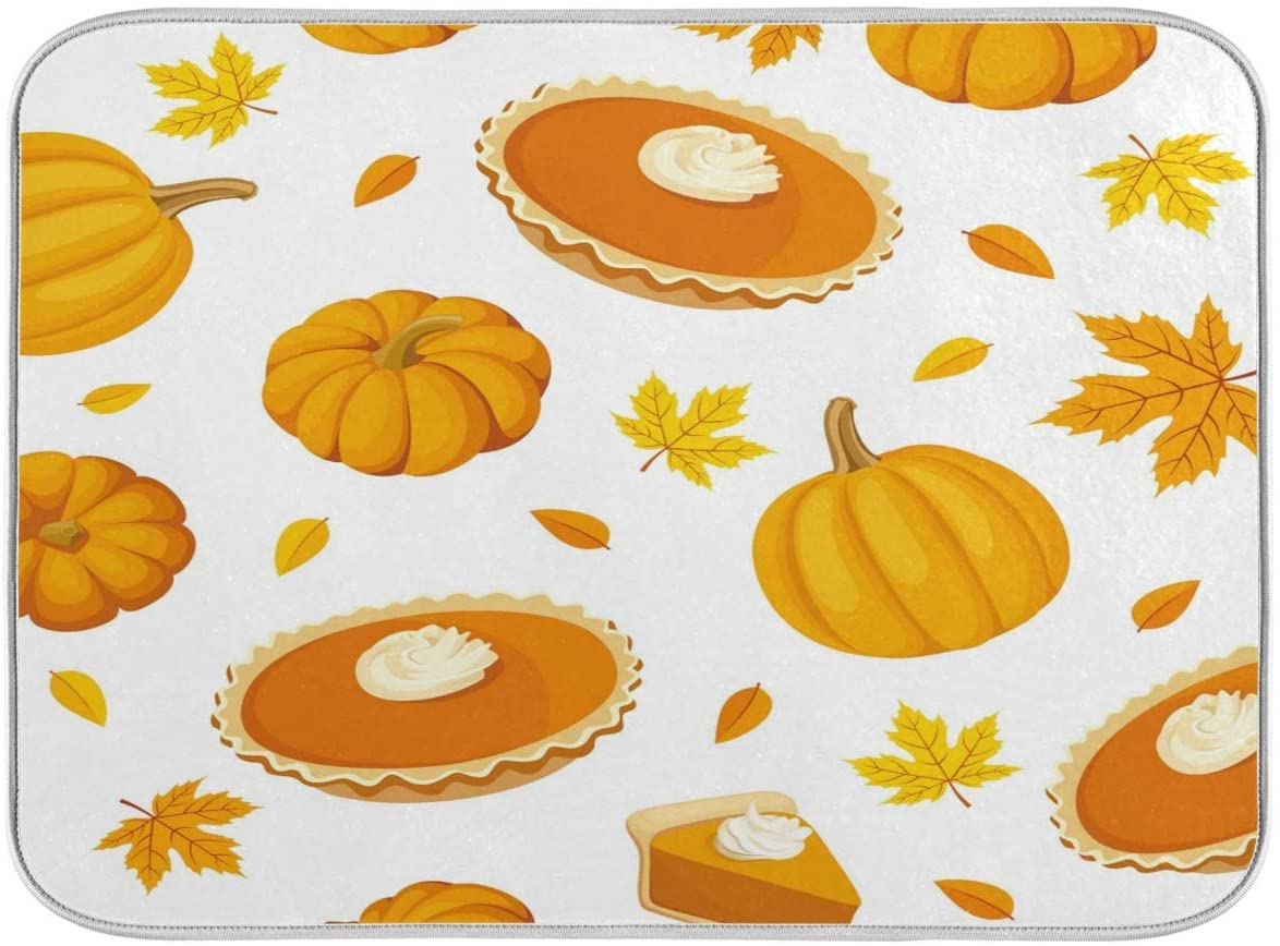 Nander Pumpkin Maple Leave Dish Drying Mat for Kitchen Counter, Absorbent Reversible Dish Draining Mat,Rack Pad for Countertop, 16 x 18 Inches