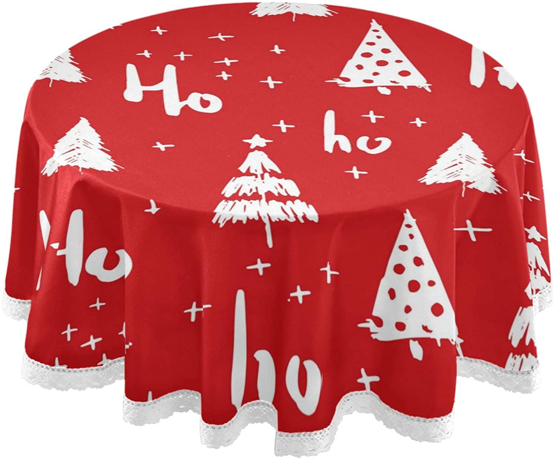 MNSRUU Round Tablecloth Hohoho and Christmas Tree Table Cover Round 60