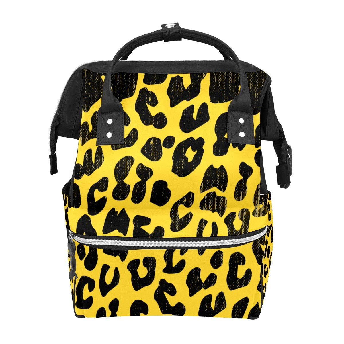 Diaper Bag Backpack Leopard Print with Texture Multifunction Travel Back Pack Baby Changing Bags Large Capacity Waterproof Stylish