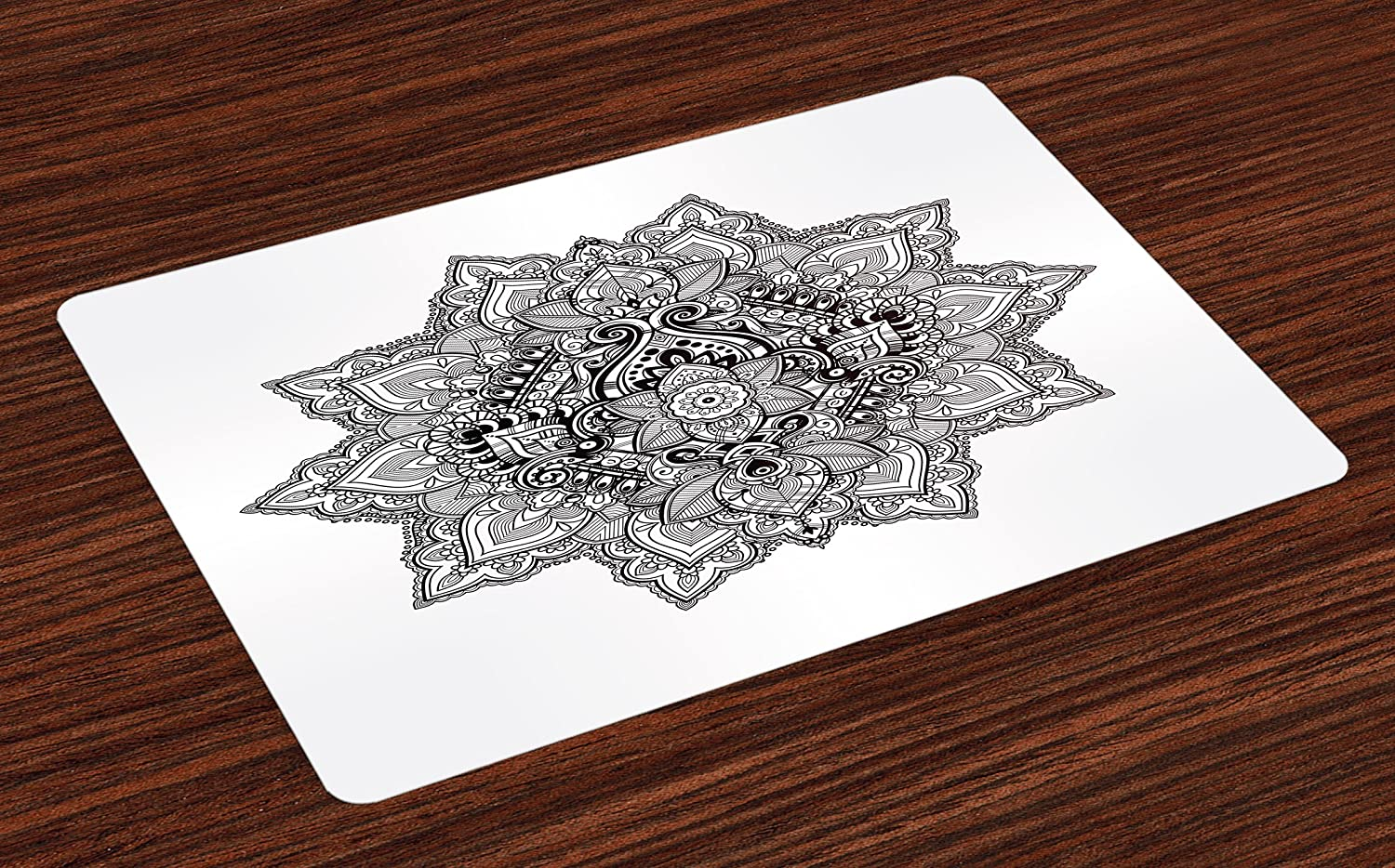 Ambesonne Lotus Place Mats Set of 4, Mandala with Aztec Tribal Textured Ornamental Cosmos Floral Pattern, Washable Fabric Placemats for Dining Room Kitchen Table Decor, Grey Black