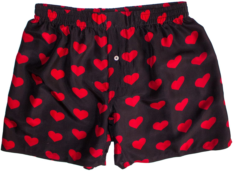 Royal Silk Silk Heart Boxers Valentine's Day - Red on Black - Men's