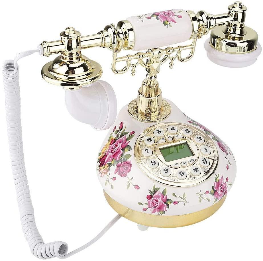 Mugast Landline Telephone,Vintage Retro Antique FSK/DTMF Desktop Phone with Caller ID Function for Home/Office/Hotel Decoration