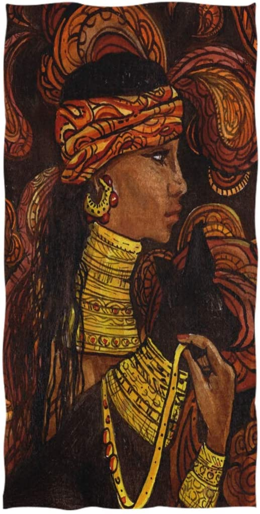 Naanle Ethnic African Woman Print Highly Absorbent Soft Large Decorative Guest Hand Towel for Bathroom, Hotel, Gym and Spa (16 x 30 Inches)