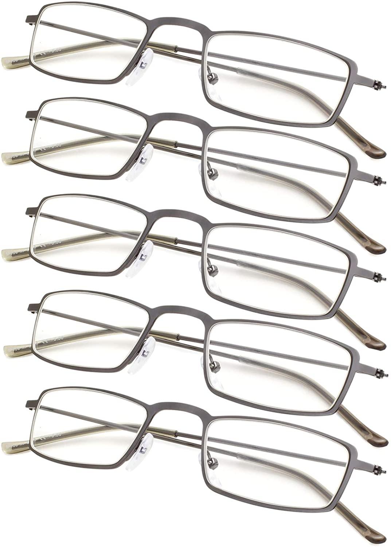 5-Pack Lightweight Readers Men Women Reading Glasses +2.25