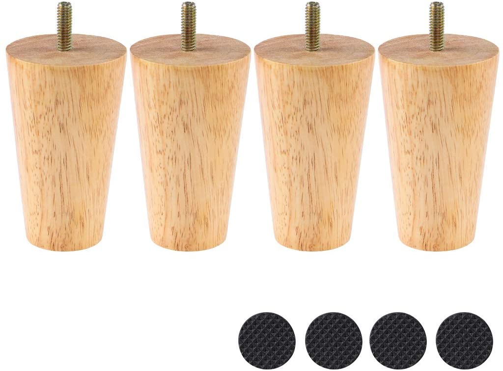 Sanbege Furniture Legs 4 Inches, Tapered Sofa Legs, Wood Replacement Legs for Mid Century Style Chair, Couch, Ottoman, Pack of 4