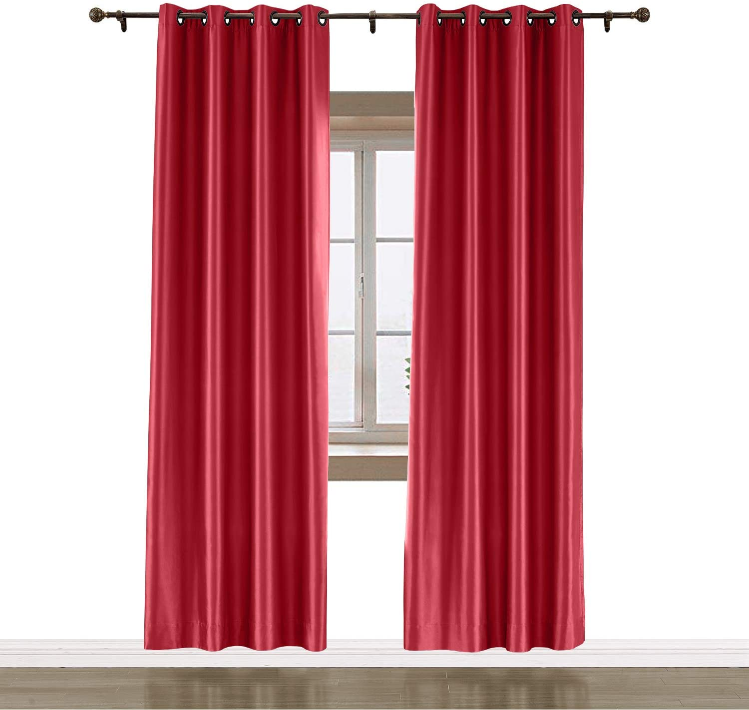 Macochico Thermal Insulated Privacy Protection Dustproof Noise Reducing Indoor Curtain Panels 100Wx 96L Red Drapes Reading Room Bedroom Office Patio Gazebo Cabana (1 Panel)