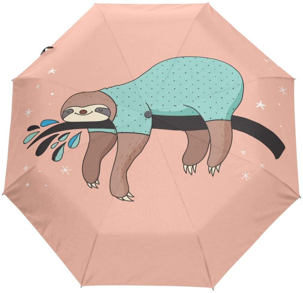 FORMRS Travel Umbrella, Lovely Cute Sloth Auto Open Umbrella Compact Folding Sun Rain Protection, Windproof for Kids Women Men