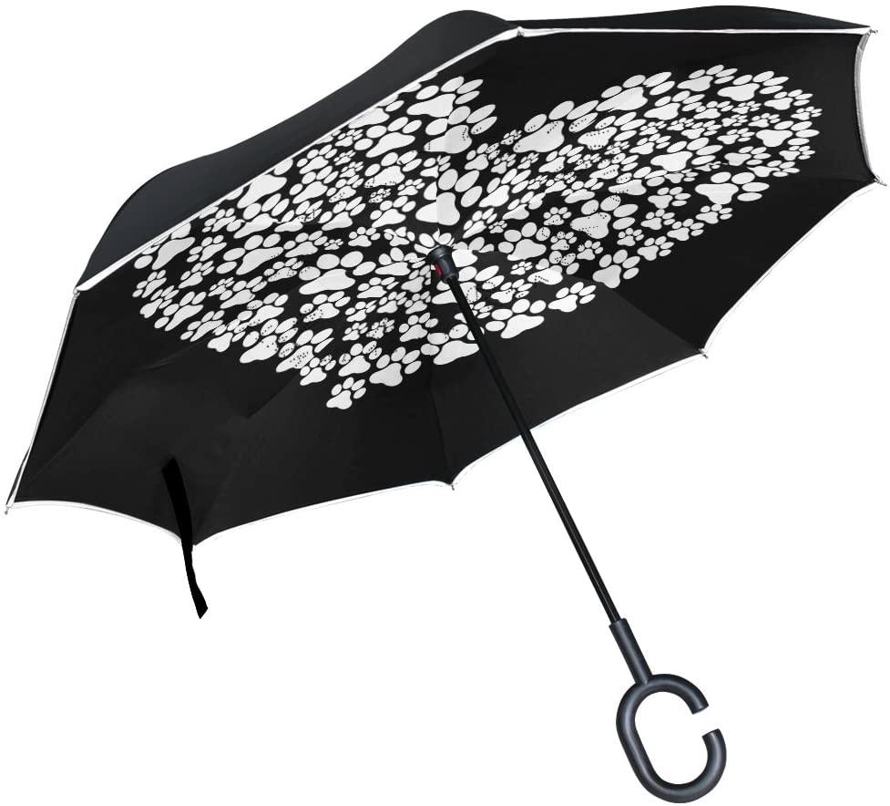 ALAZA Dog Paw Print Love Heart Inverted Umbrella, Large Double Layer Outdoor Rain Sun Car Reversible Umbrella