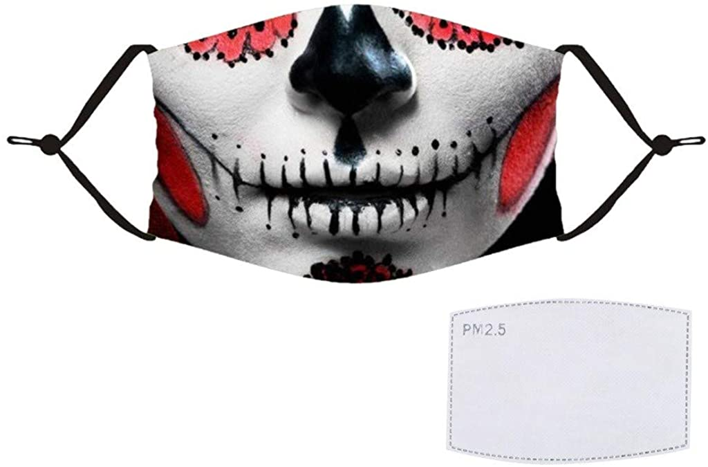 Halloween Printed Face Covering Adult Washable Reusable,Breathable Cycling Face Scarf Balaclava Face_Masks for Women