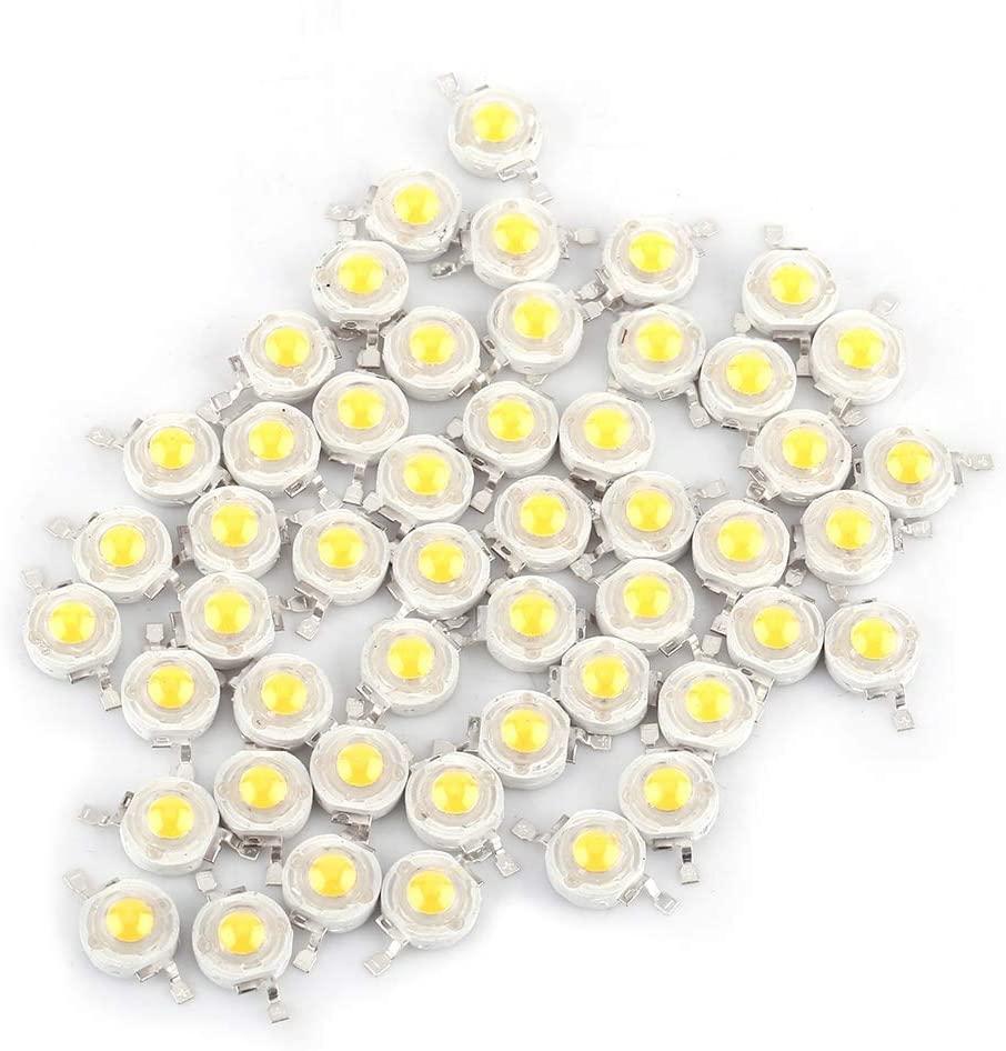 Delaman LED Lamp Beads, 50pcs SMD 1W Cool/Warm White LED Lamp Beads Bulb Chip High Power Floodlight Spotlight for Home Studio (Warm White)